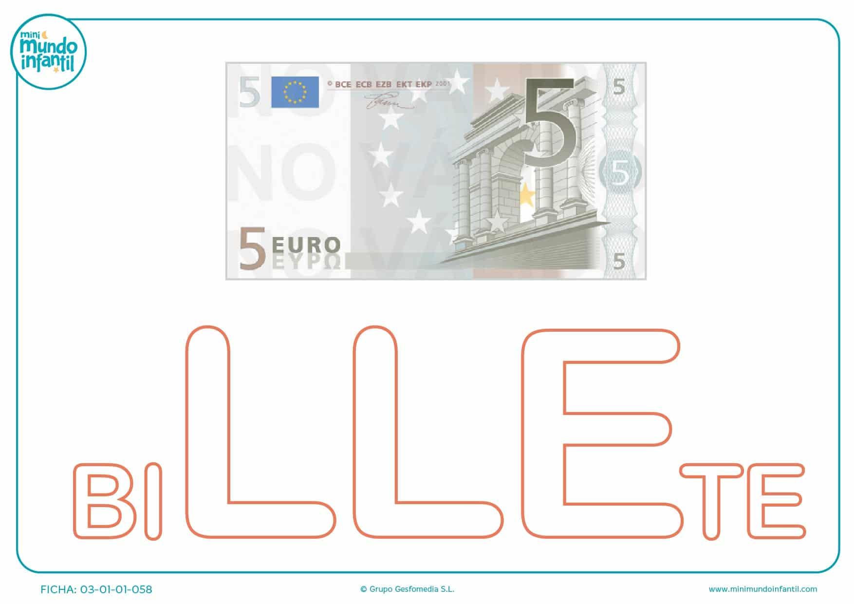 Colorea la sílaba LLE mayúscula de billete
