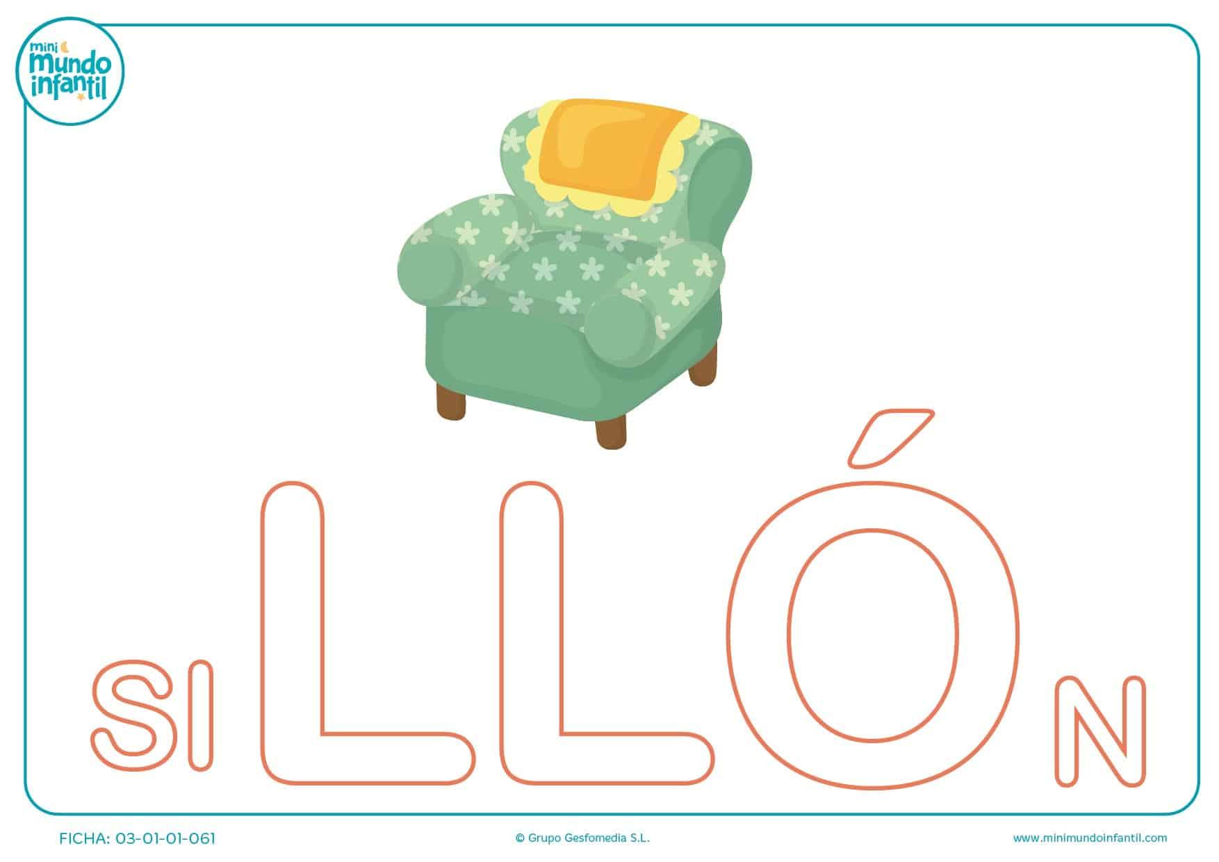 Completa la sílaba LLO mayúscula de sillón