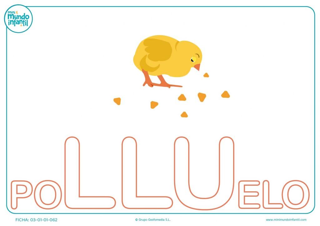 Colorea la sílaba LLU mayúscula de polluelo