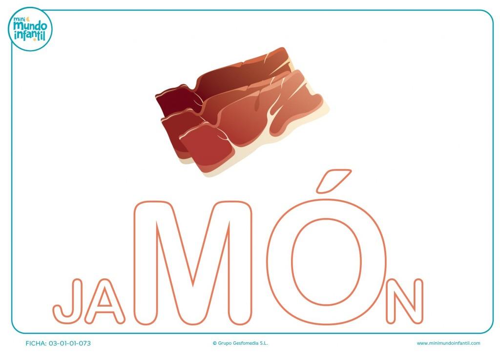 Colorea la sílaba MO mayúscula de jamón