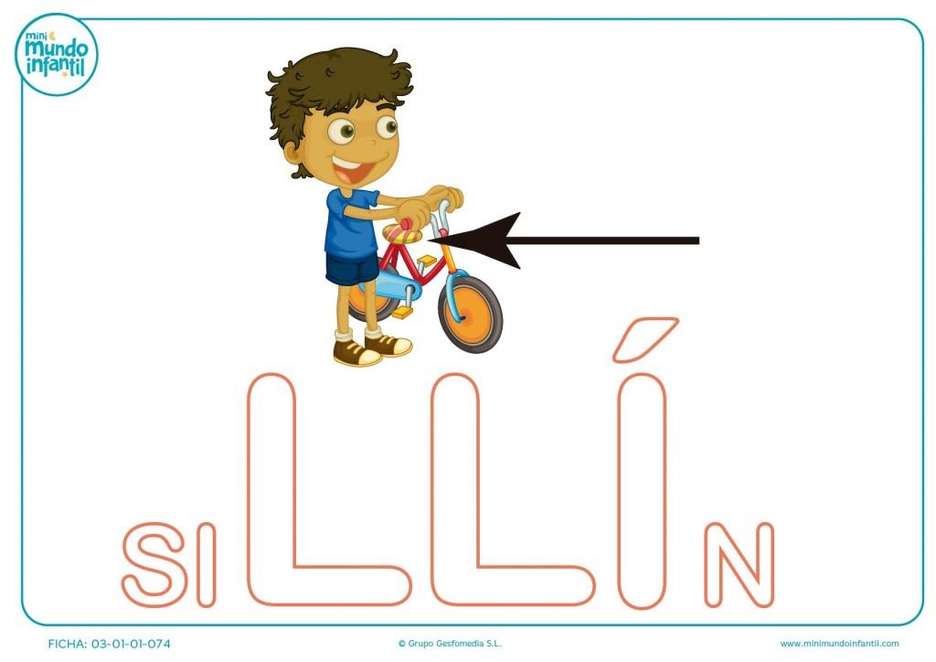 Rellena la sílaba LLI mayúscula de sillín