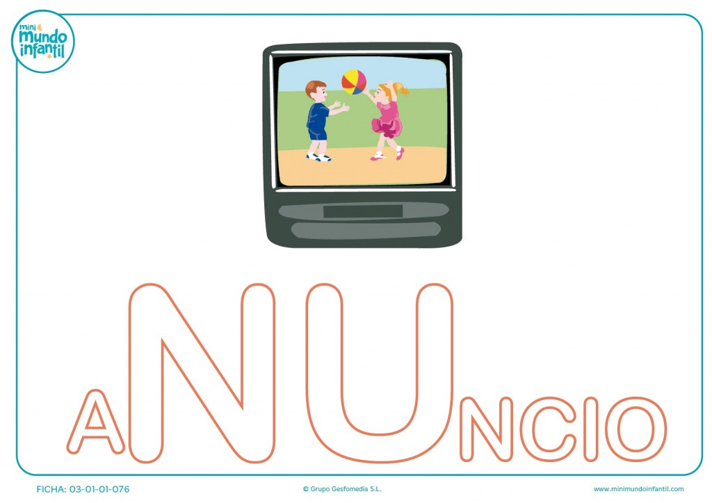 Completa la sílaba NU mayúscula de anuncio