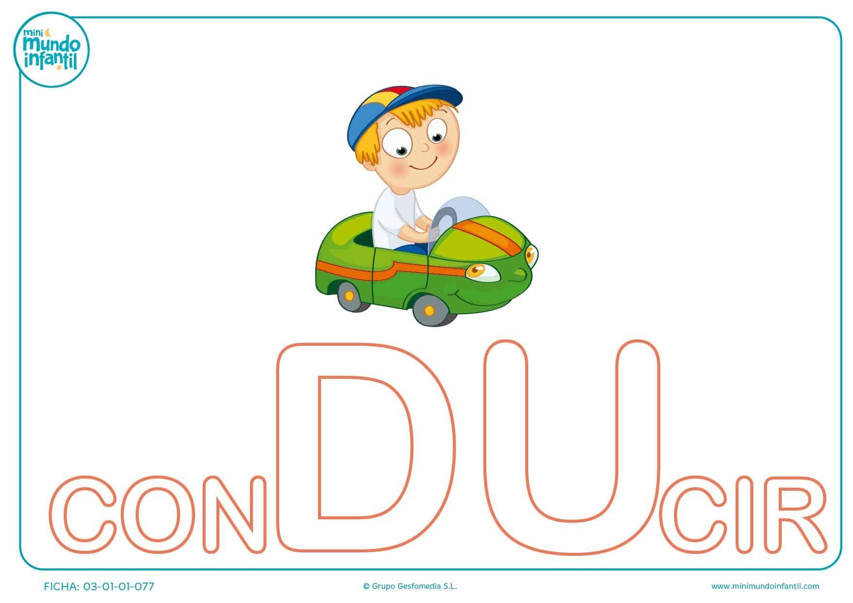 Colorea la sílaba DU mayúscula de conducir