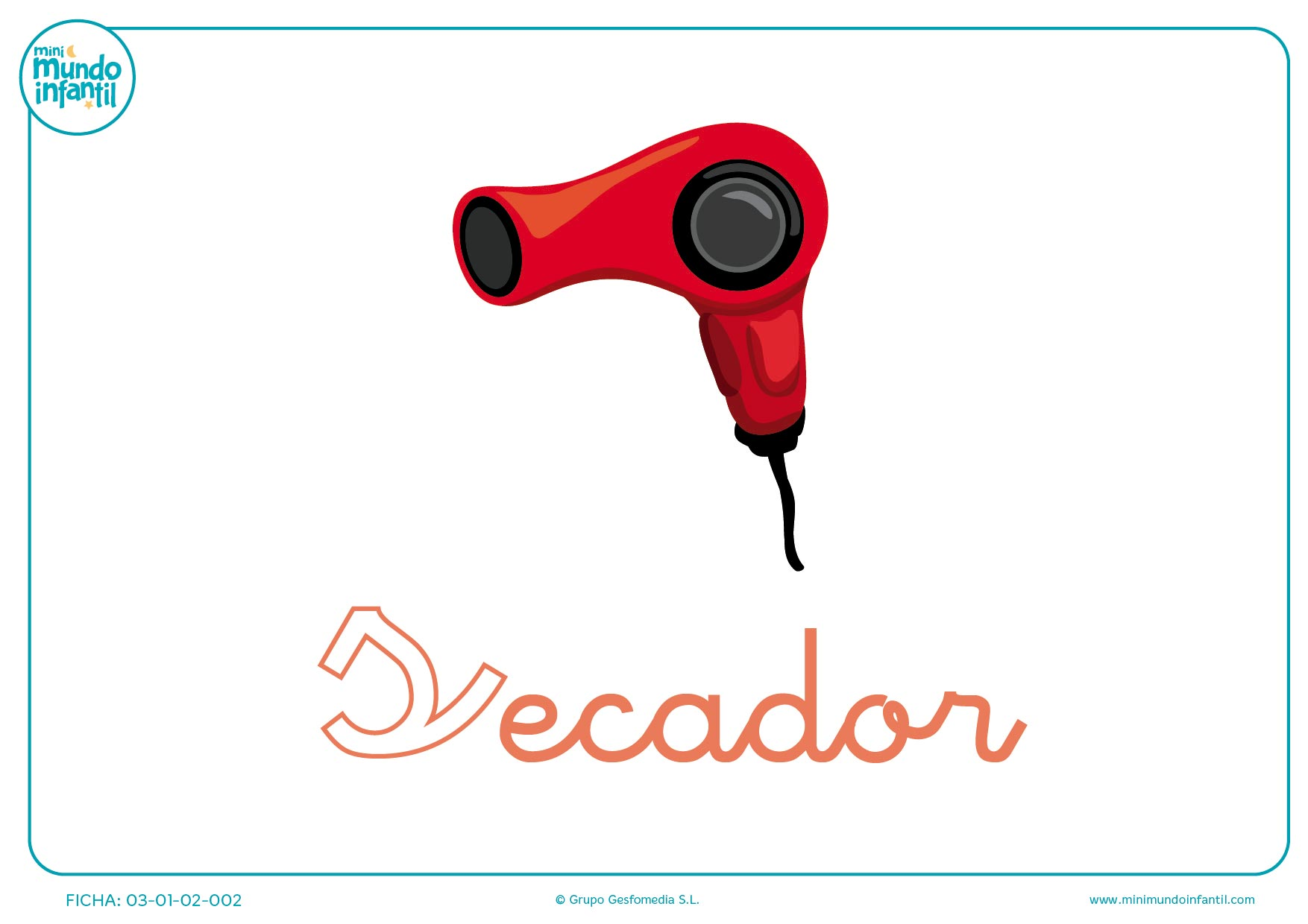 Colorear la letra S minúscula de secador
