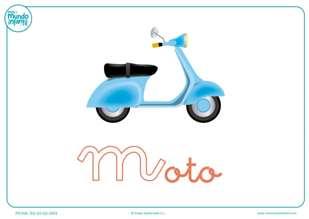 Completar la letra M minúscula de moto