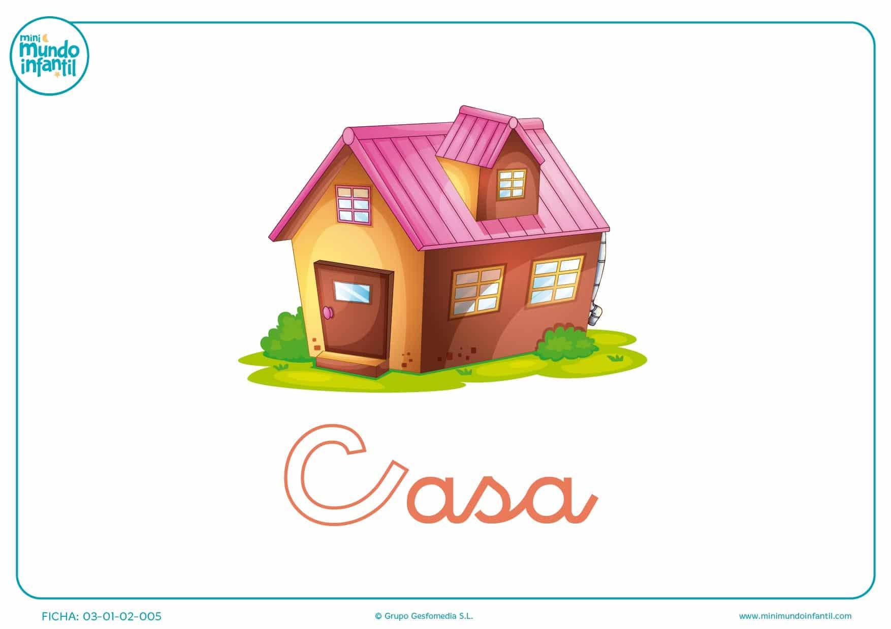 Letra C minúscula de casa para pintar