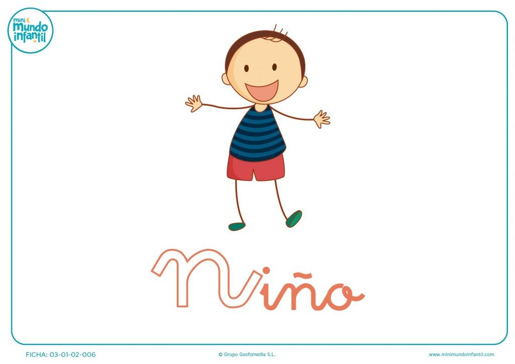 Letra N minúscula de niño para colorear