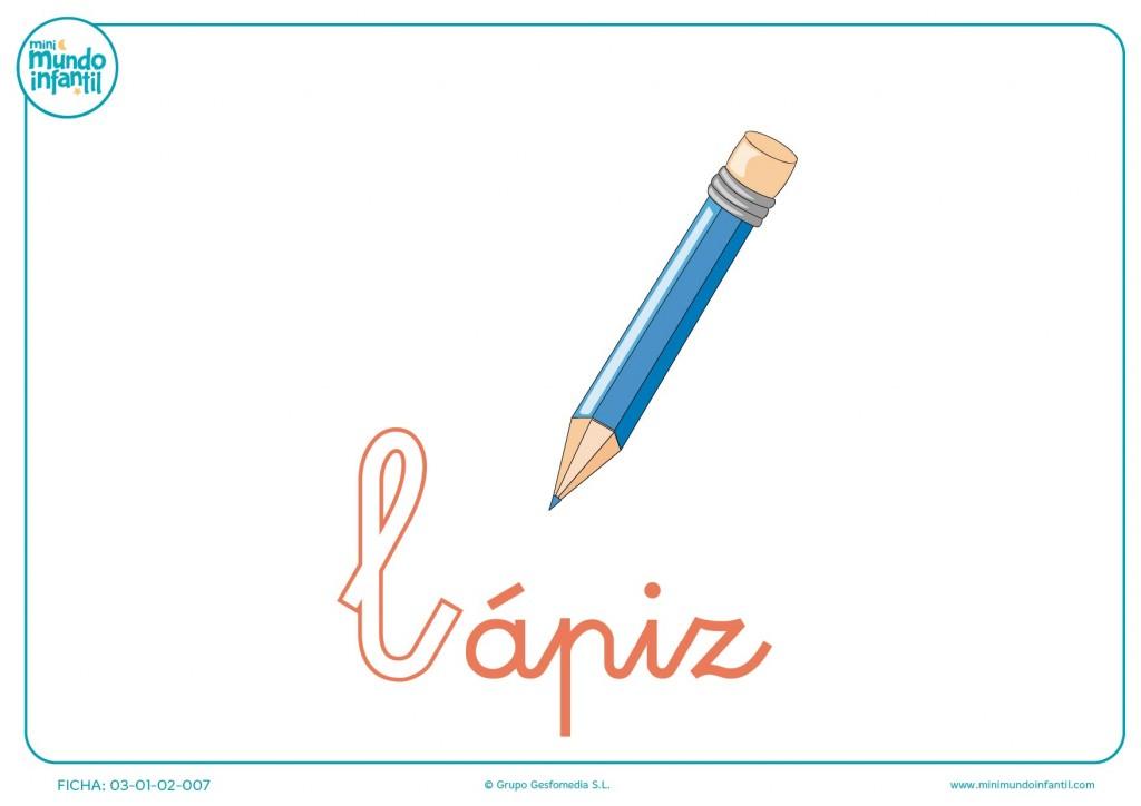Letra L minúscula de lápiz para completar
