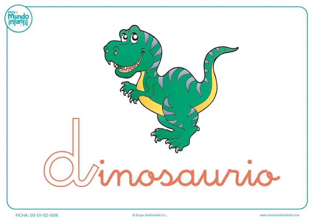 Letra D minúscula de dinosaurio para pintar