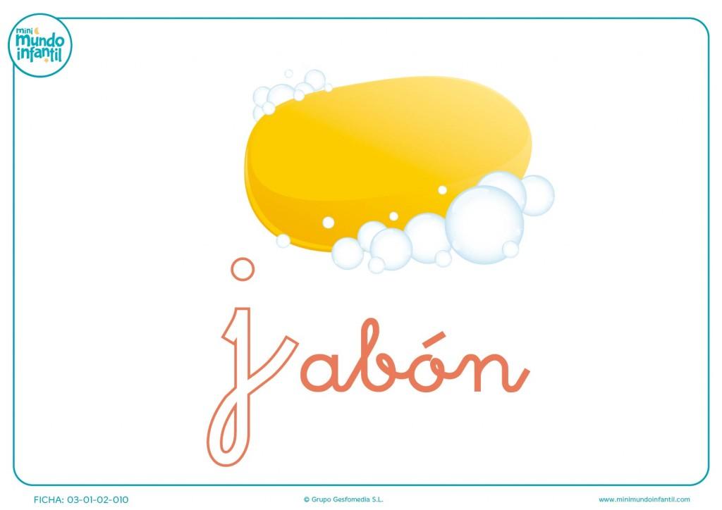 Pintar la letra J minúscula de jabón