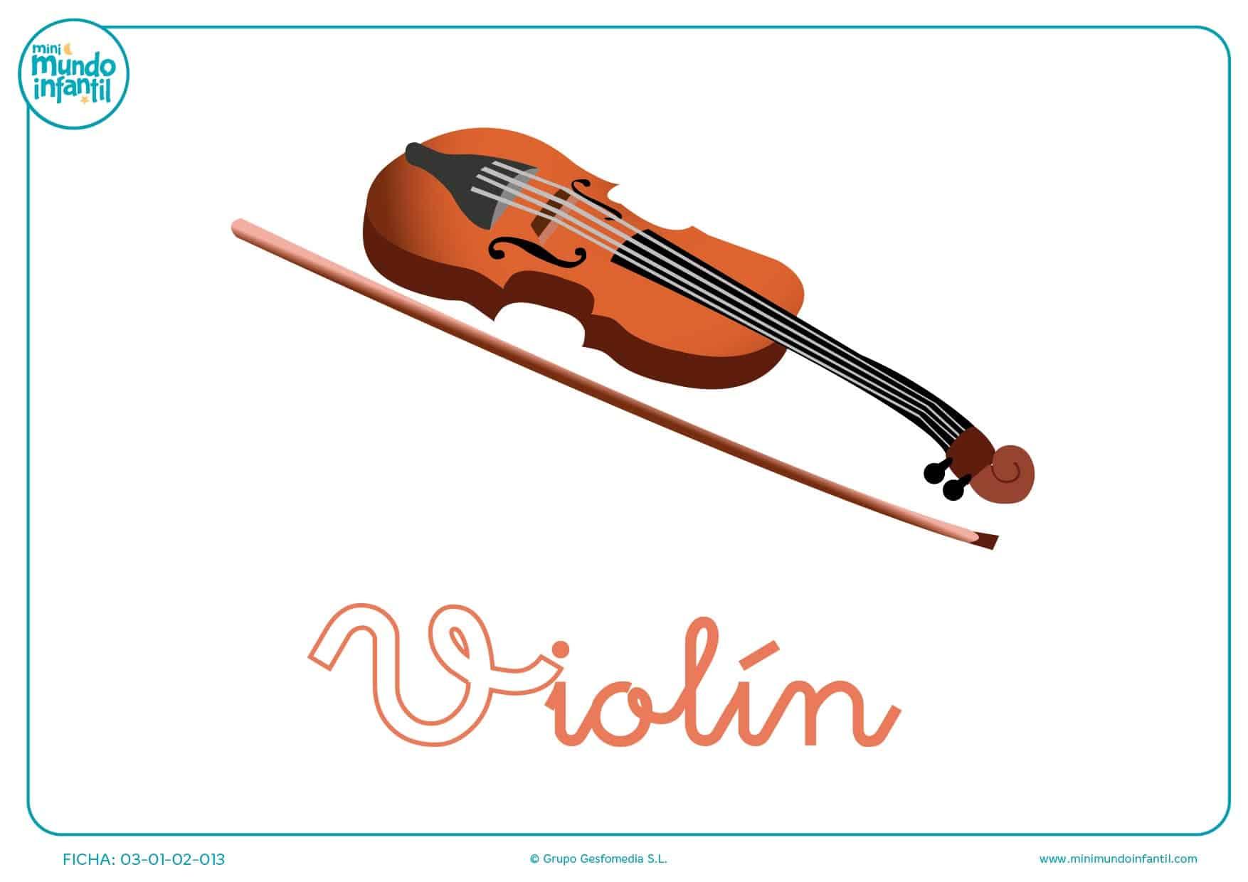 Pintar la letra V minúscula de violín