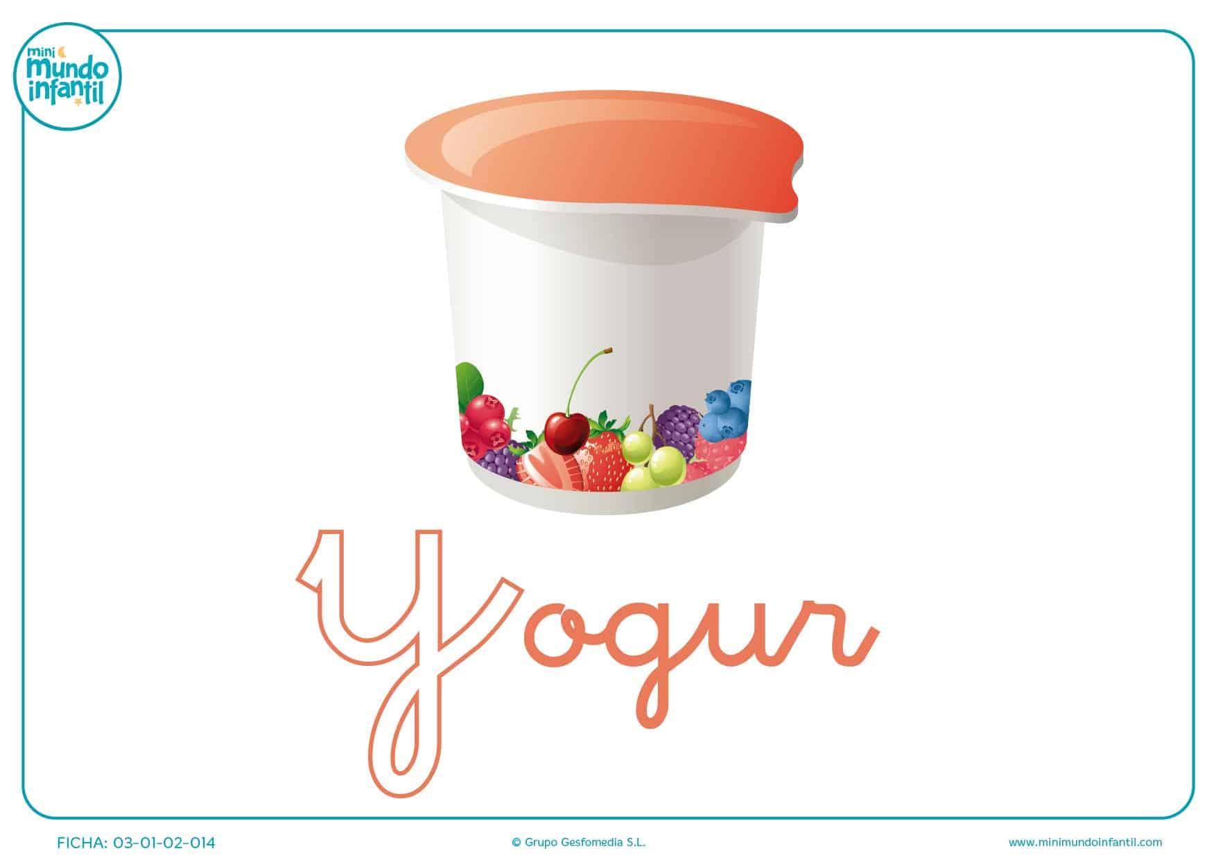 Letra Y minúscula de yogur para pintar