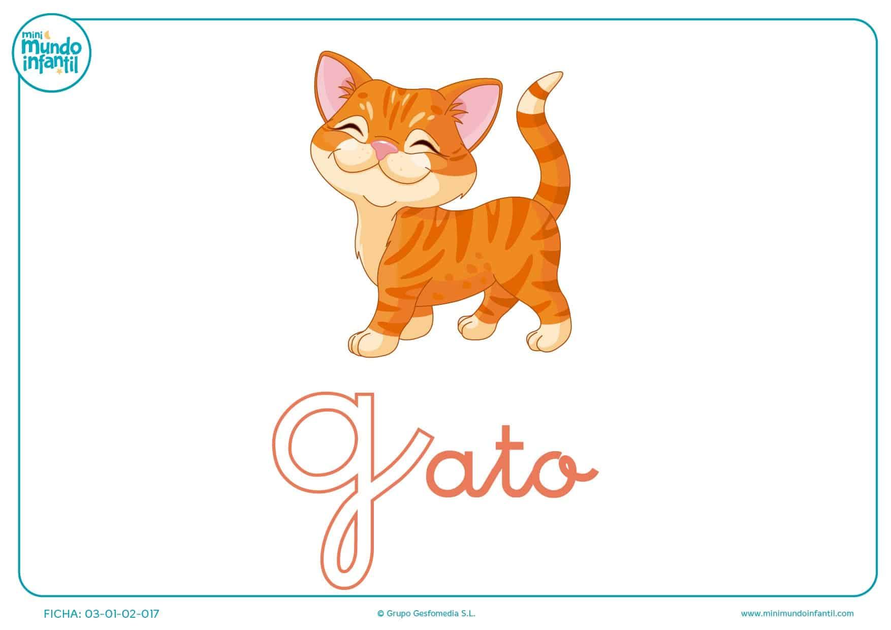 Letra G minúscula de gato para pintar