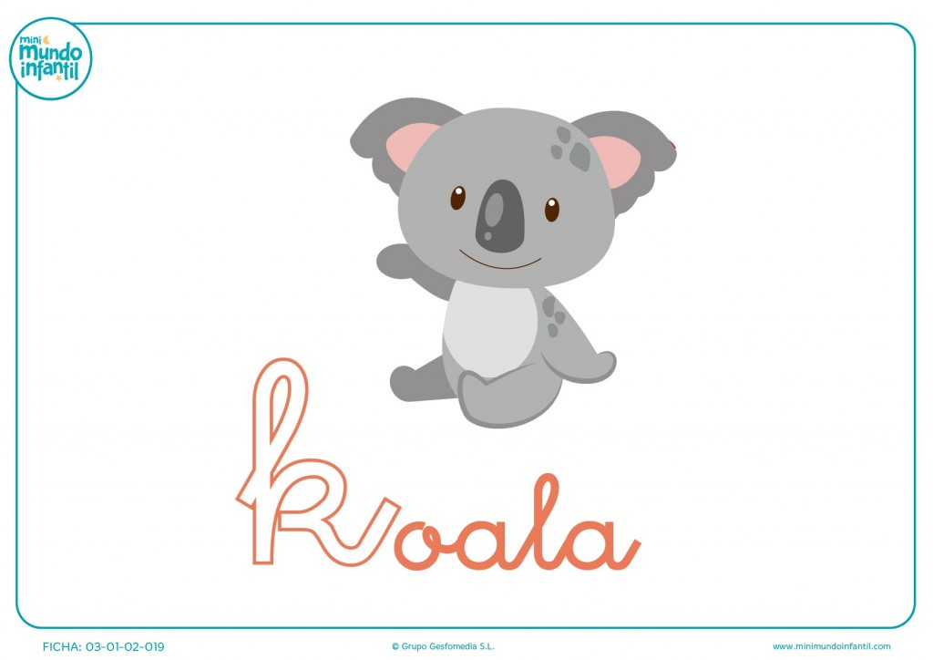 Colorear letra K minúscula de koala
