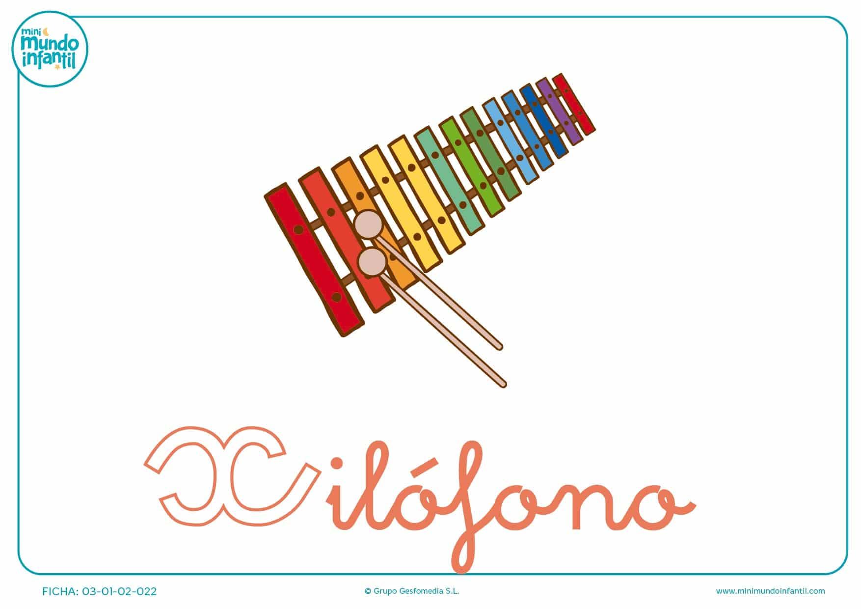 Letra X minúscula de xilófono para pintar