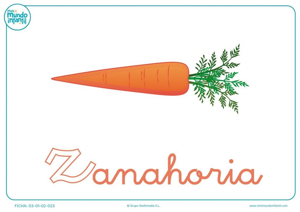 Letra Z minúscula de zanahoria para colorear