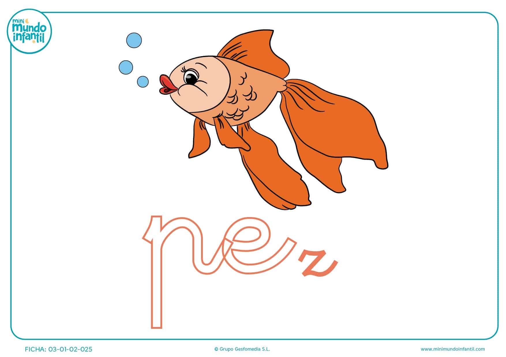 Sílaba PE minúscula de pez para colorear