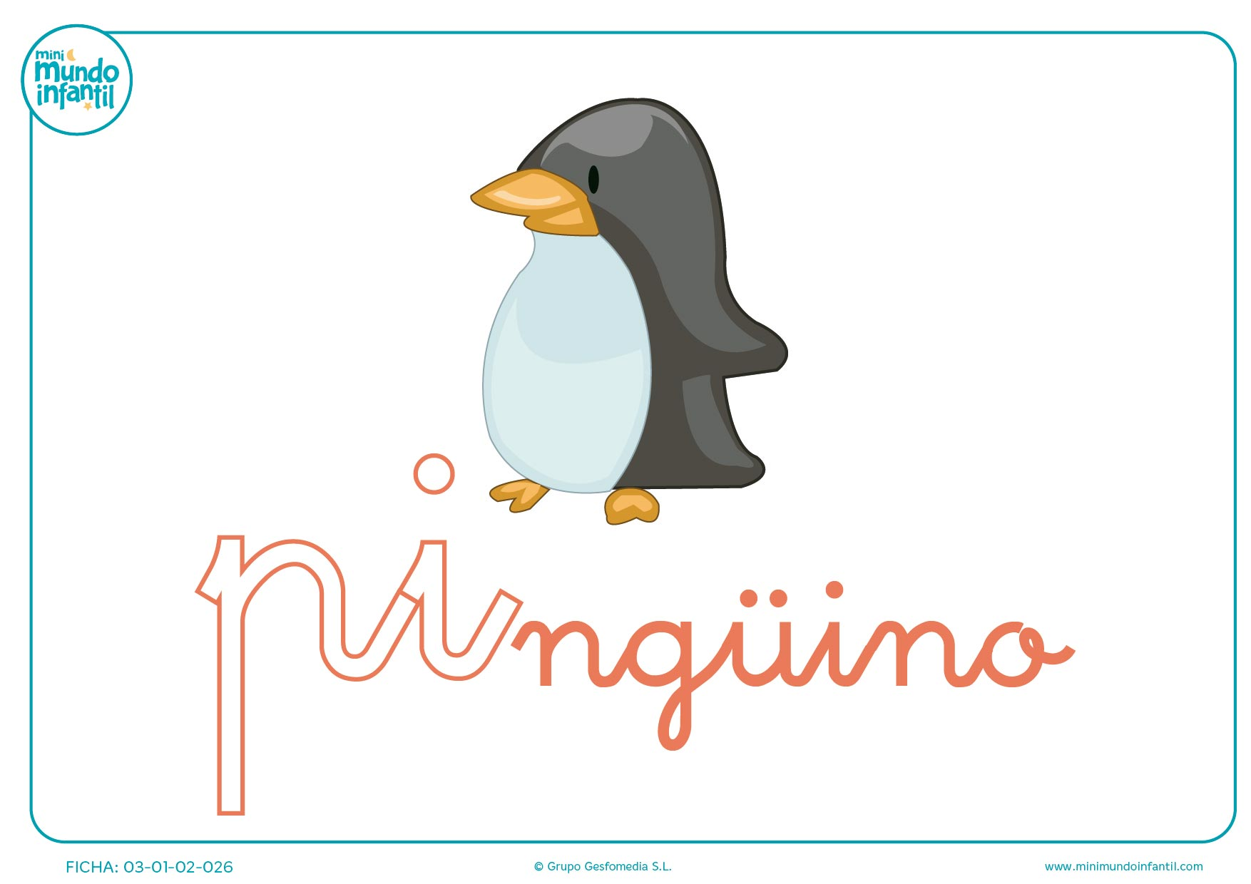 Sílaba PI minúscula de pingüino para completar