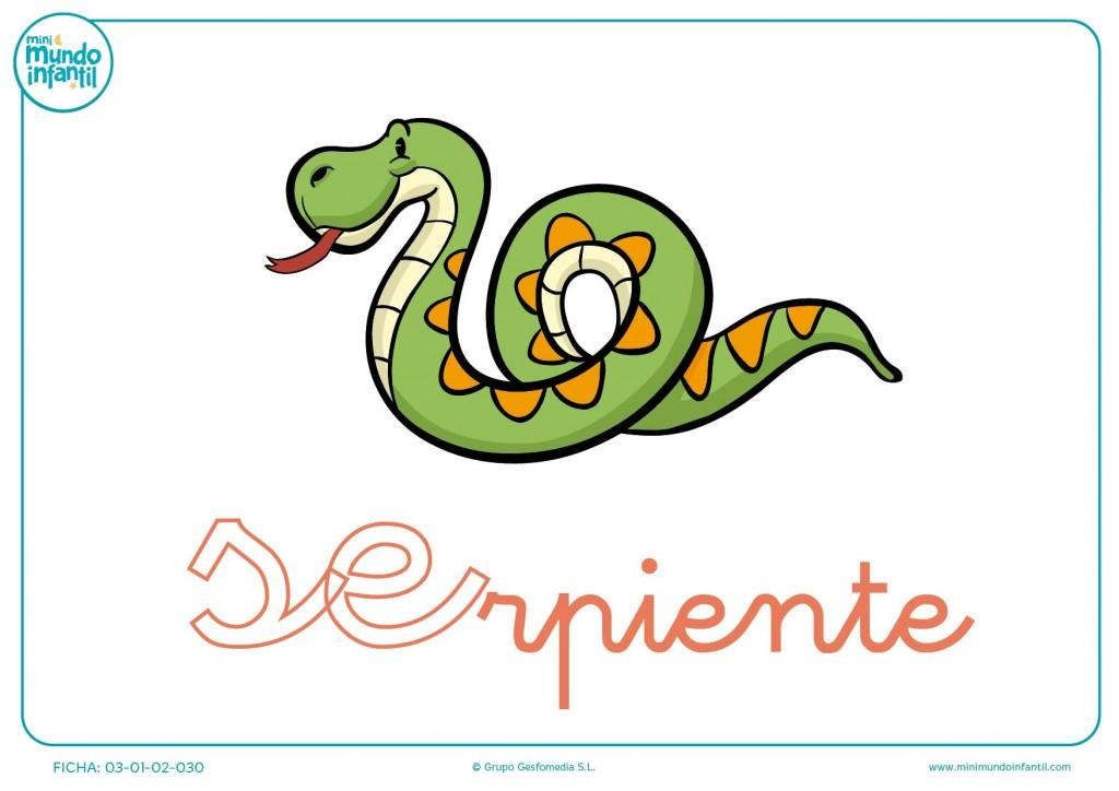 Completar sílaba SE minúscula de serpiente