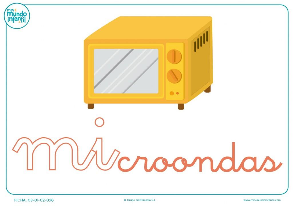 Sílaba MI minúscula de microondas para completar