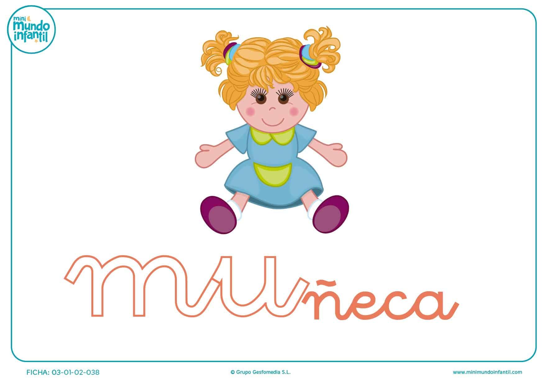 Sílaba MU minúscula de muñeca para pintar