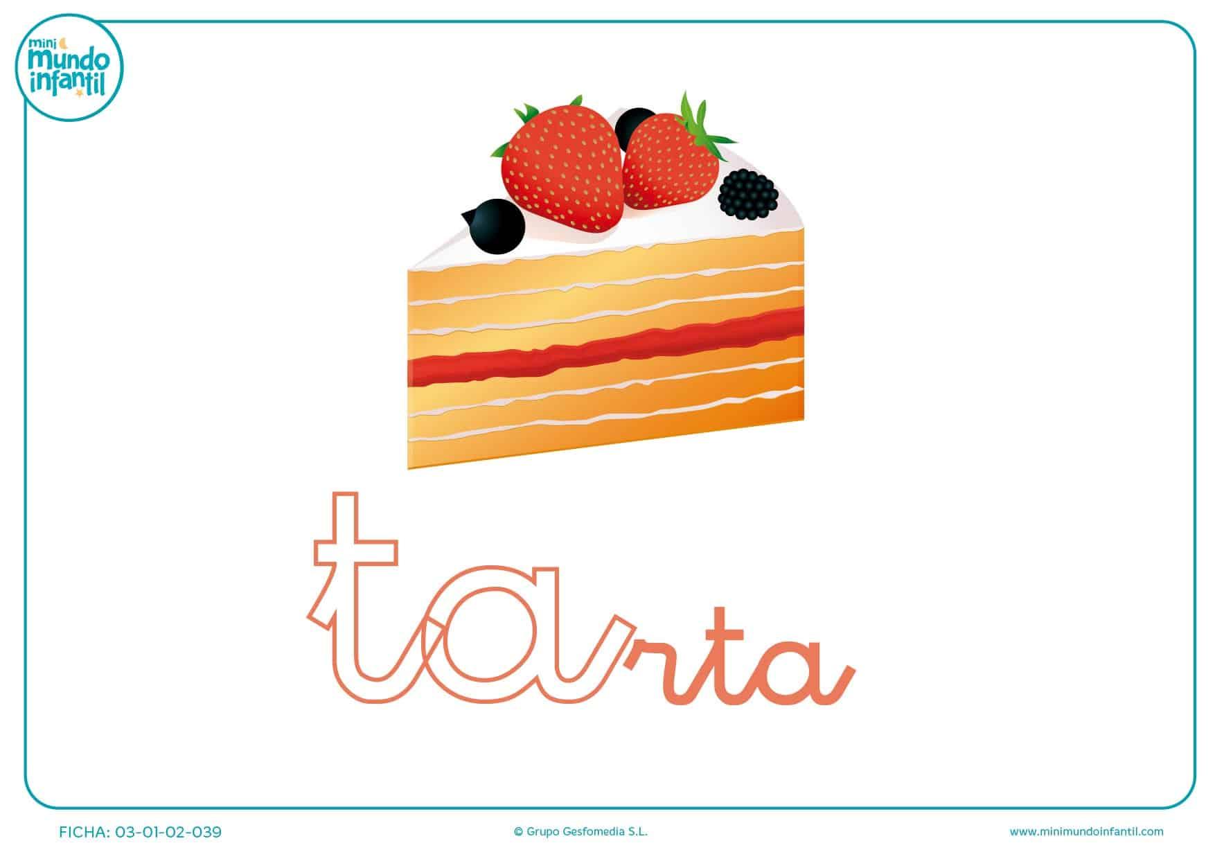 Sílaba TA minúscula de tarta para pintar