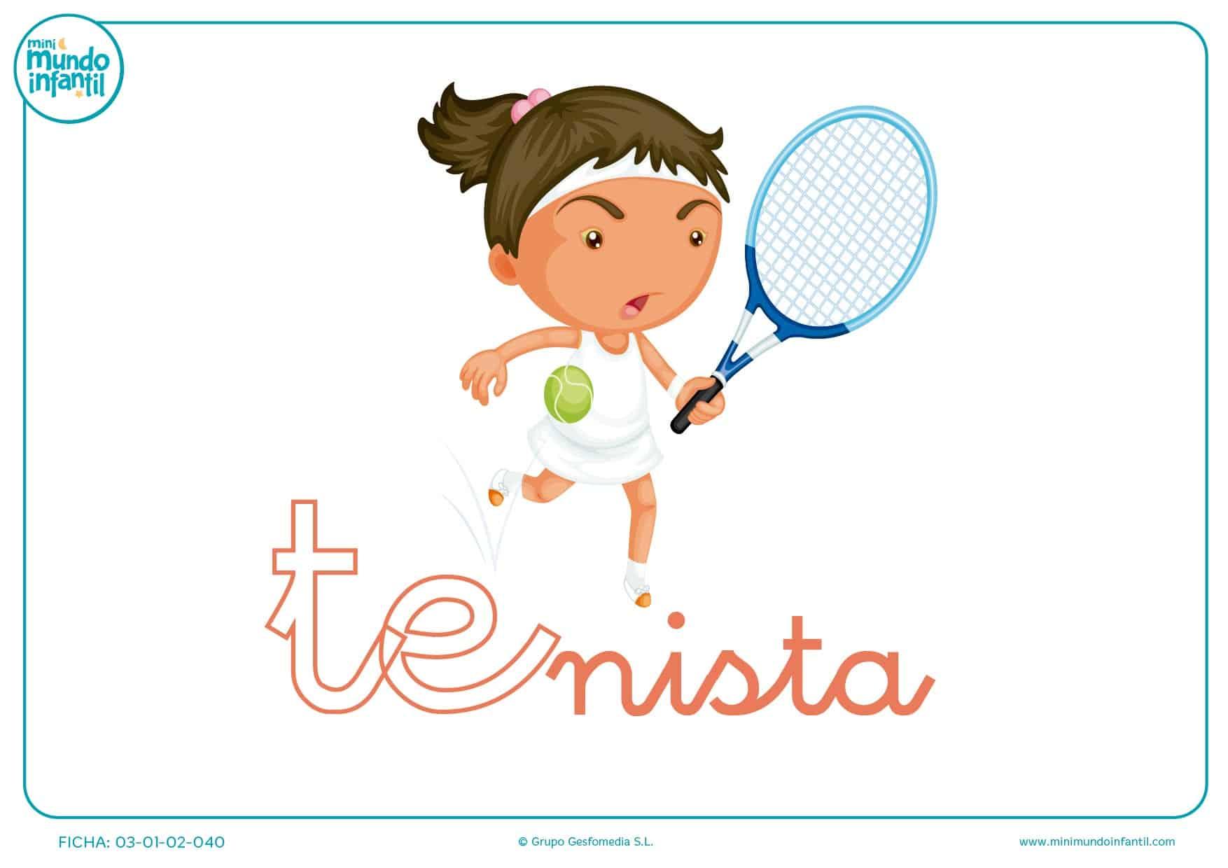 Sílaba TE minúscula de tenista para colorear