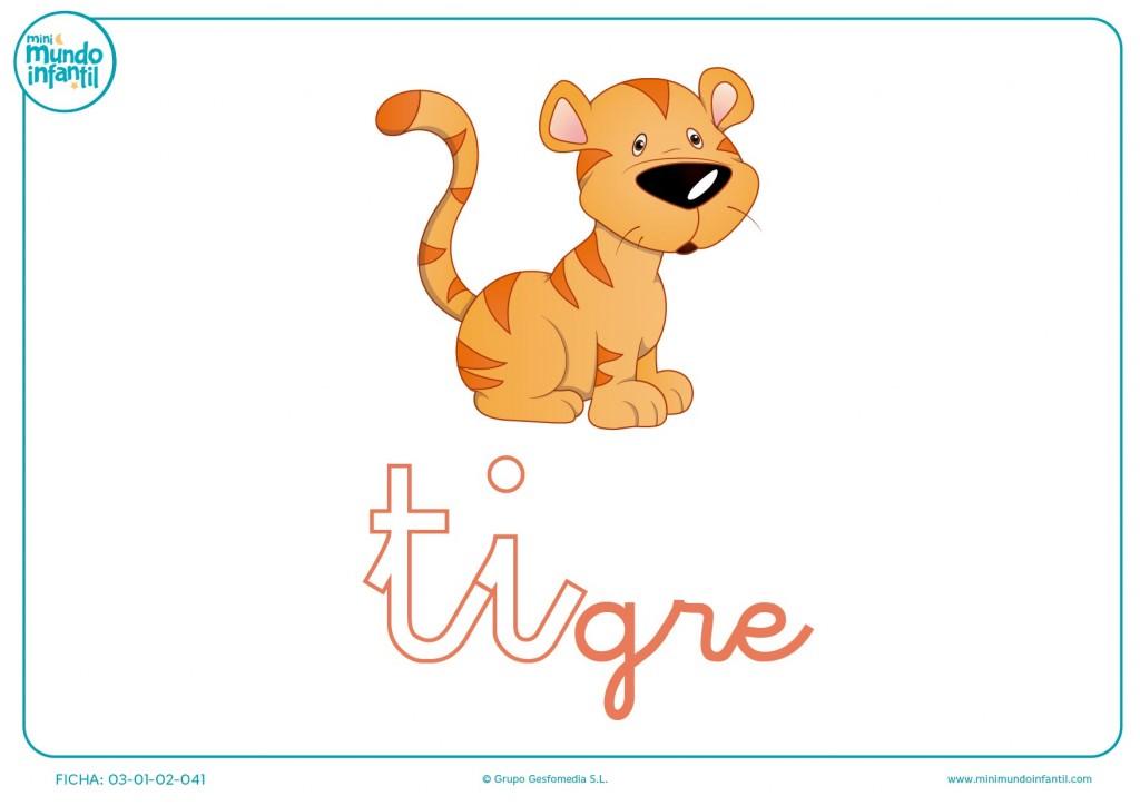 Sílaba TI minúscula de tigre para completar