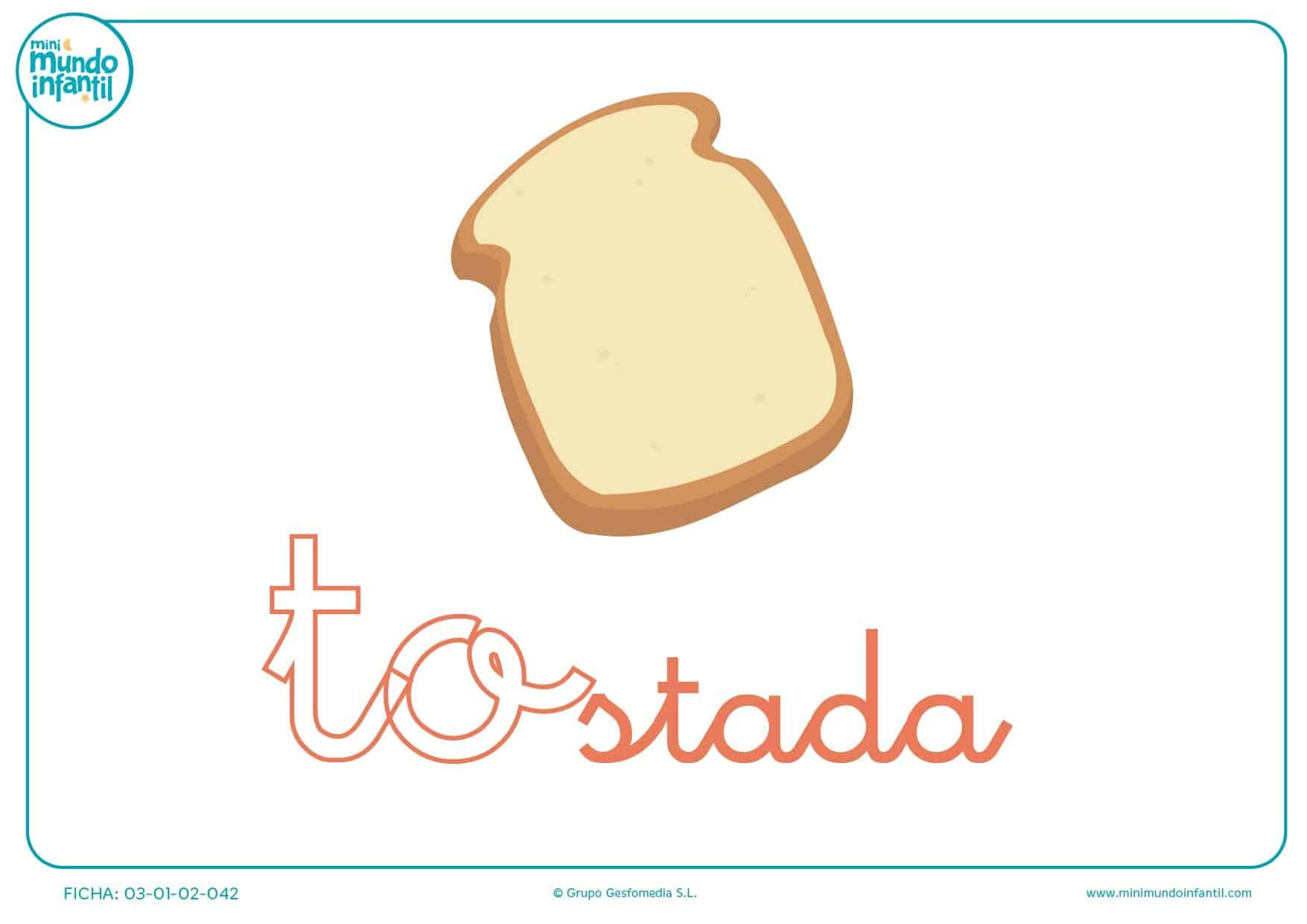 Sílaba TO minúscula de tostada para pintar