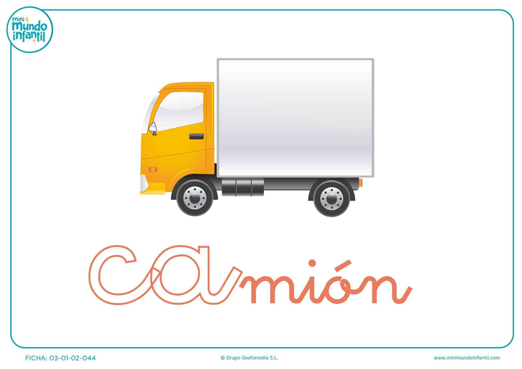 Colorear sílaba CA minúscula de camión