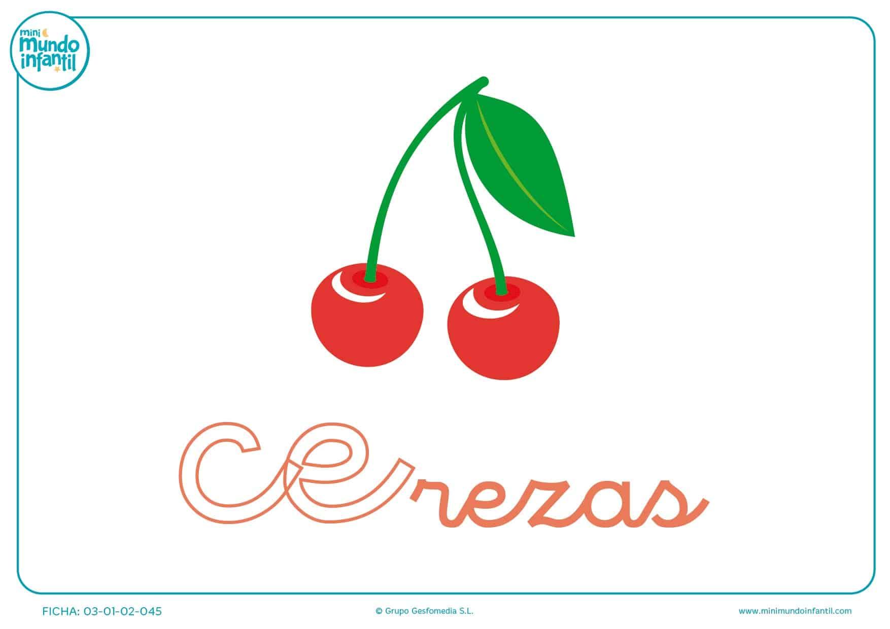 Completar sílaba CE minúscula de cereza