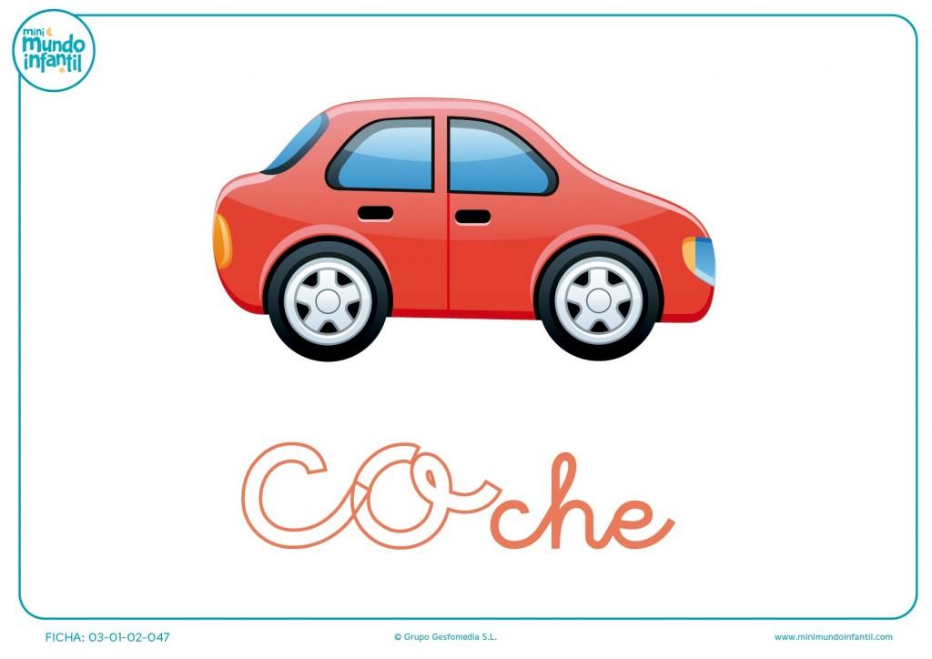 Pintar sílaba CO minúscula de coche