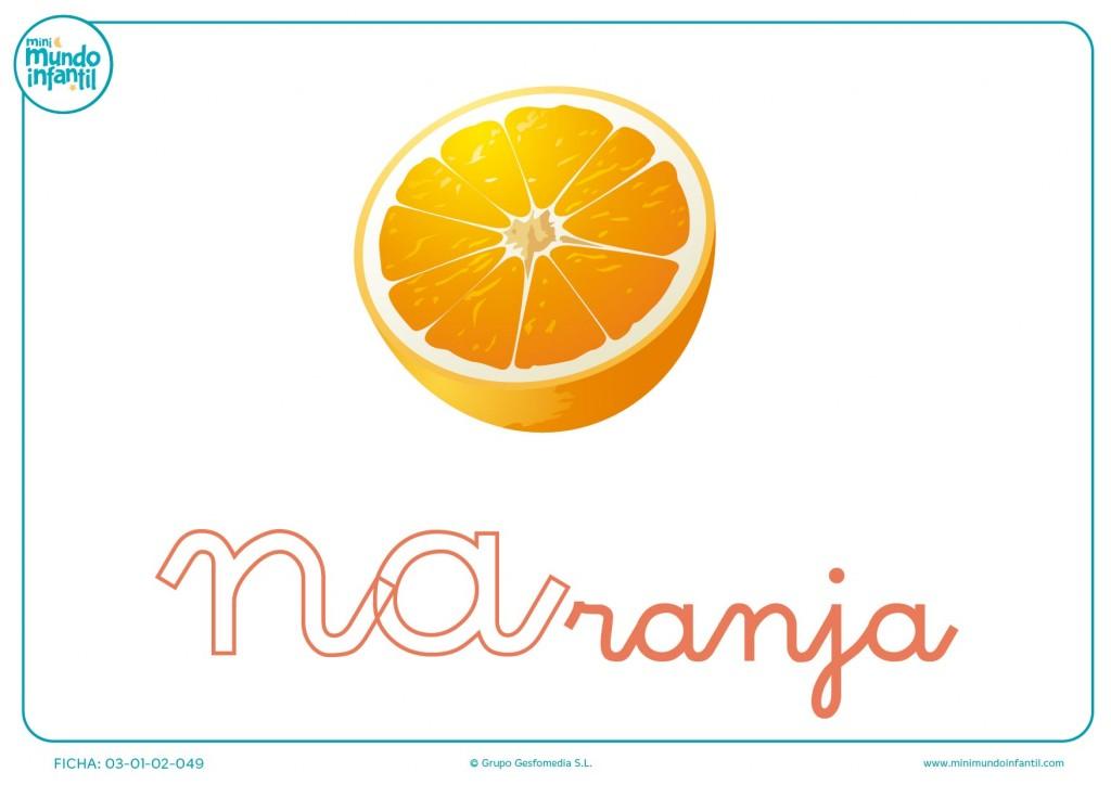 Sílaba NA minúscula de naranja para pintar
