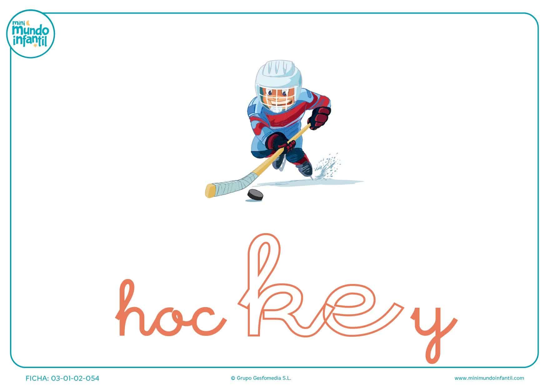 Colorear sílaba KE minúscula de hockey