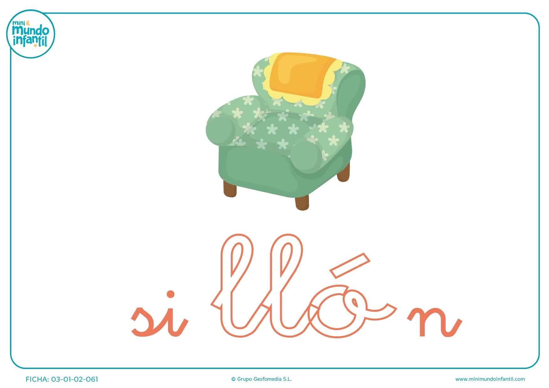 Completa la sílaba LLO minúscula de sillón