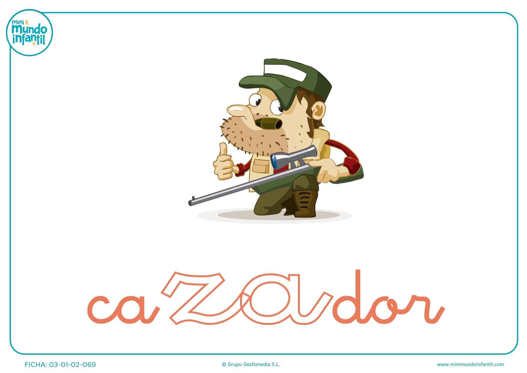 Colorear sílaba ZA minúscula de cazador