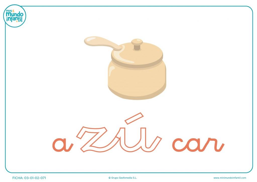 Pintar sílaba ZU minúscula de azúcar