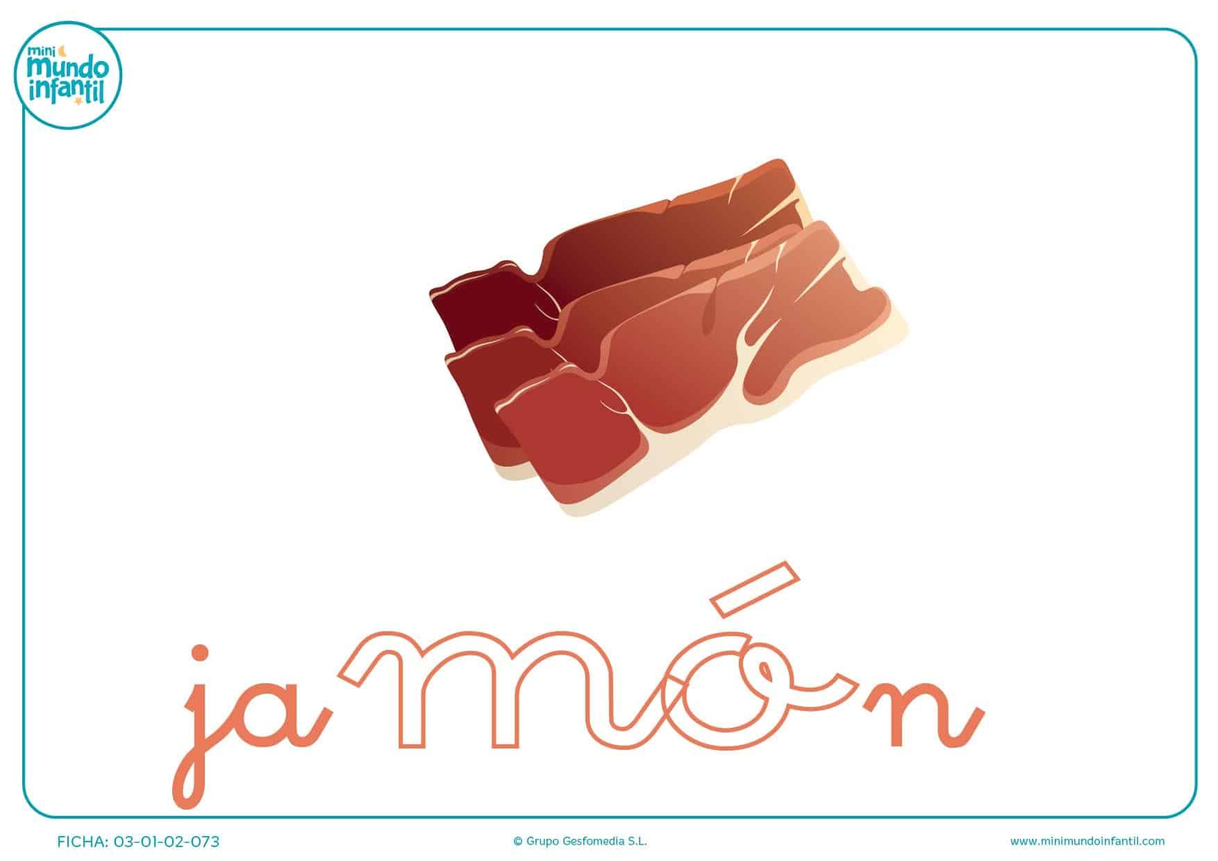 Colorea la sílaba MO minúscula de jamón
