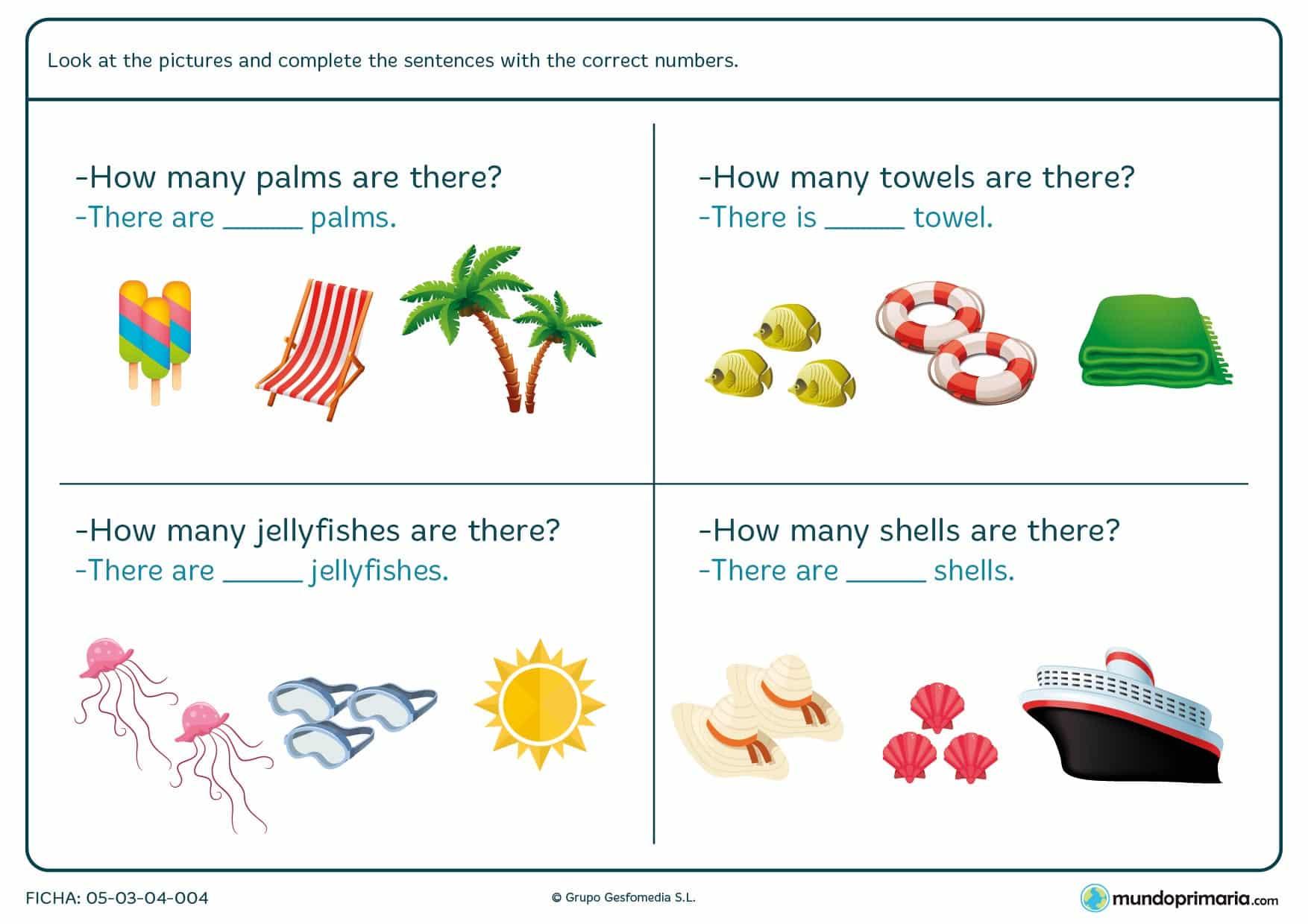 Ficha con textos que se deben rellenar en inglés. Se debe relacionar un número con un dibujo. En este caso hay que contar palmeras, toallas, medusas y conchas.
