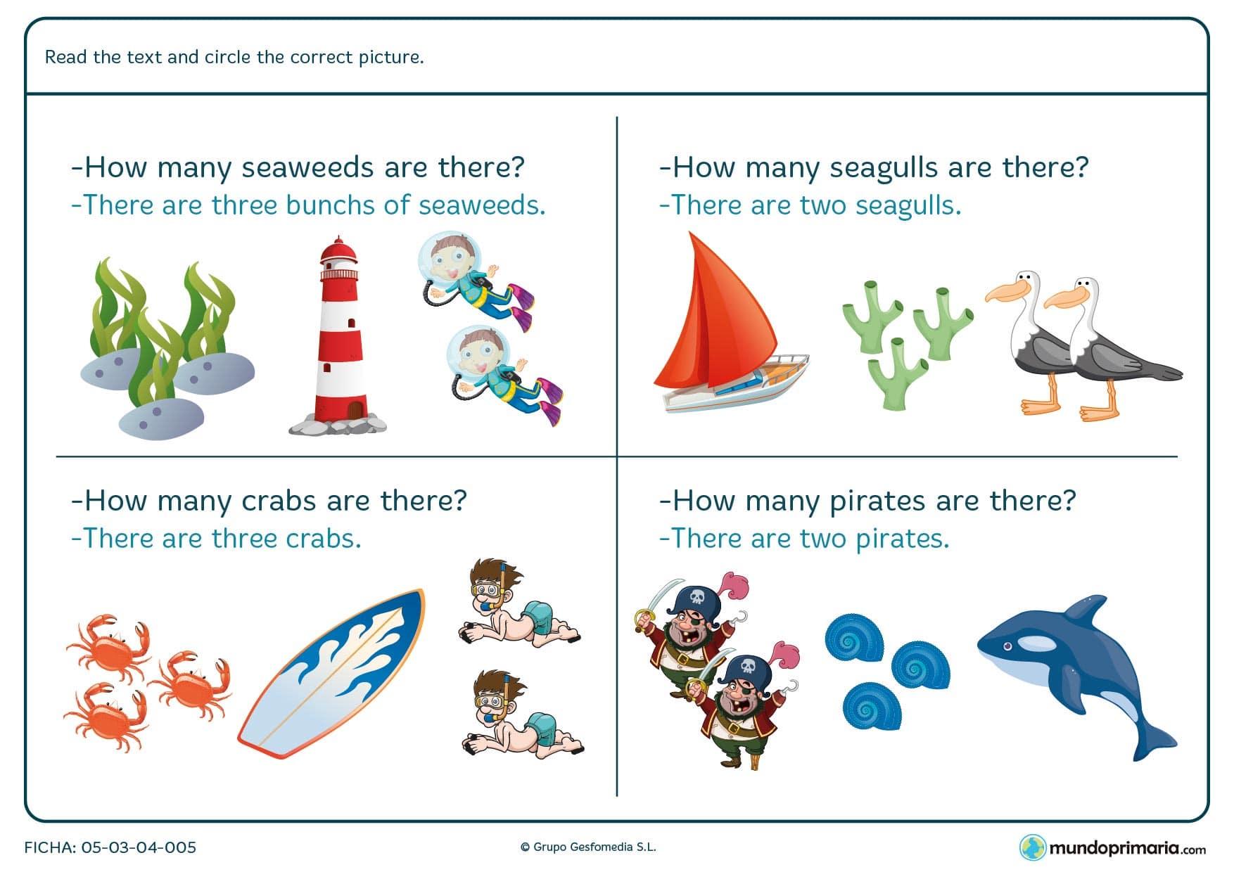 Ficha con texto de comprensión para después rodear el dibujo correcto. Se deben rodear algas, gaviotas, cangrejos y piratas.