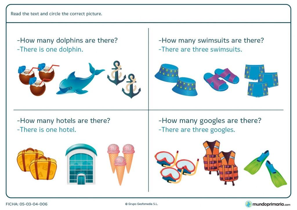 Ficha de marcar el dibujo correspondiente en inglés para primaria