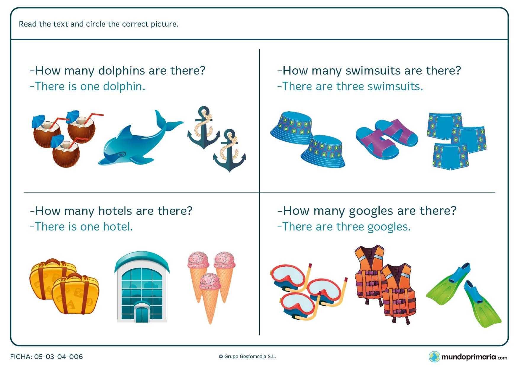 Ficha con texto de comprensión para después rodear el dibujo correcto. Se deben rodear delfines, bañadores, hoteles y gafas de buceo.