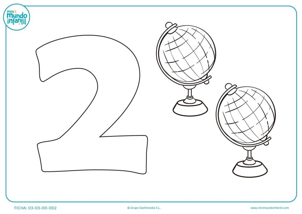 Pintar y estudiar el número 2 de bolas del mundo
