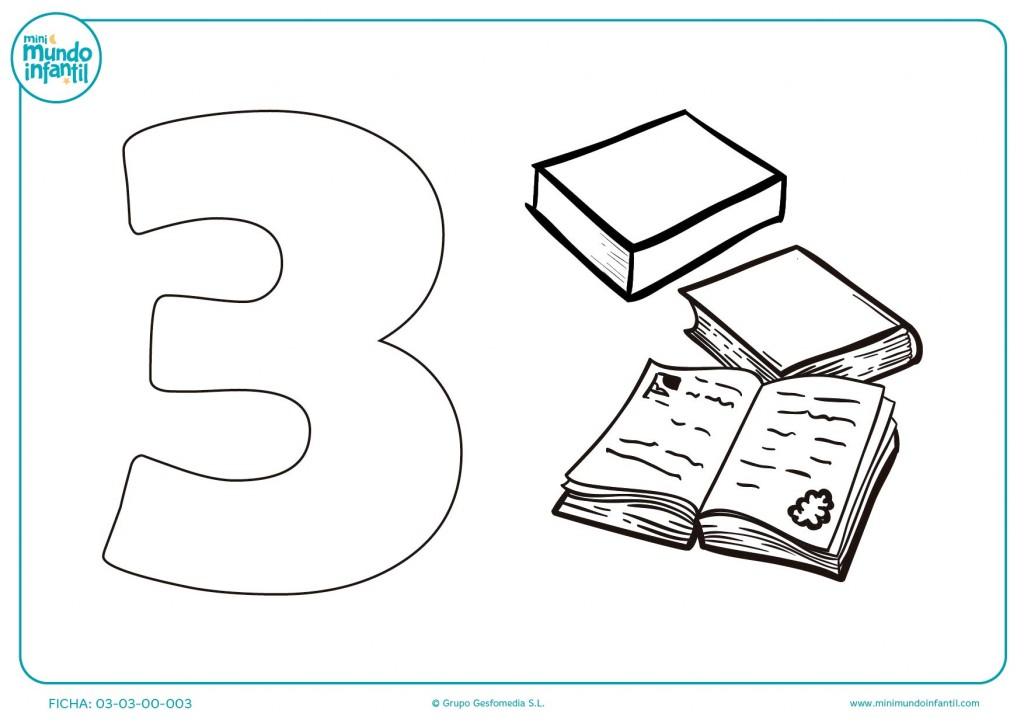 Rellenar y aprender el número 3 y colorear 3 libros