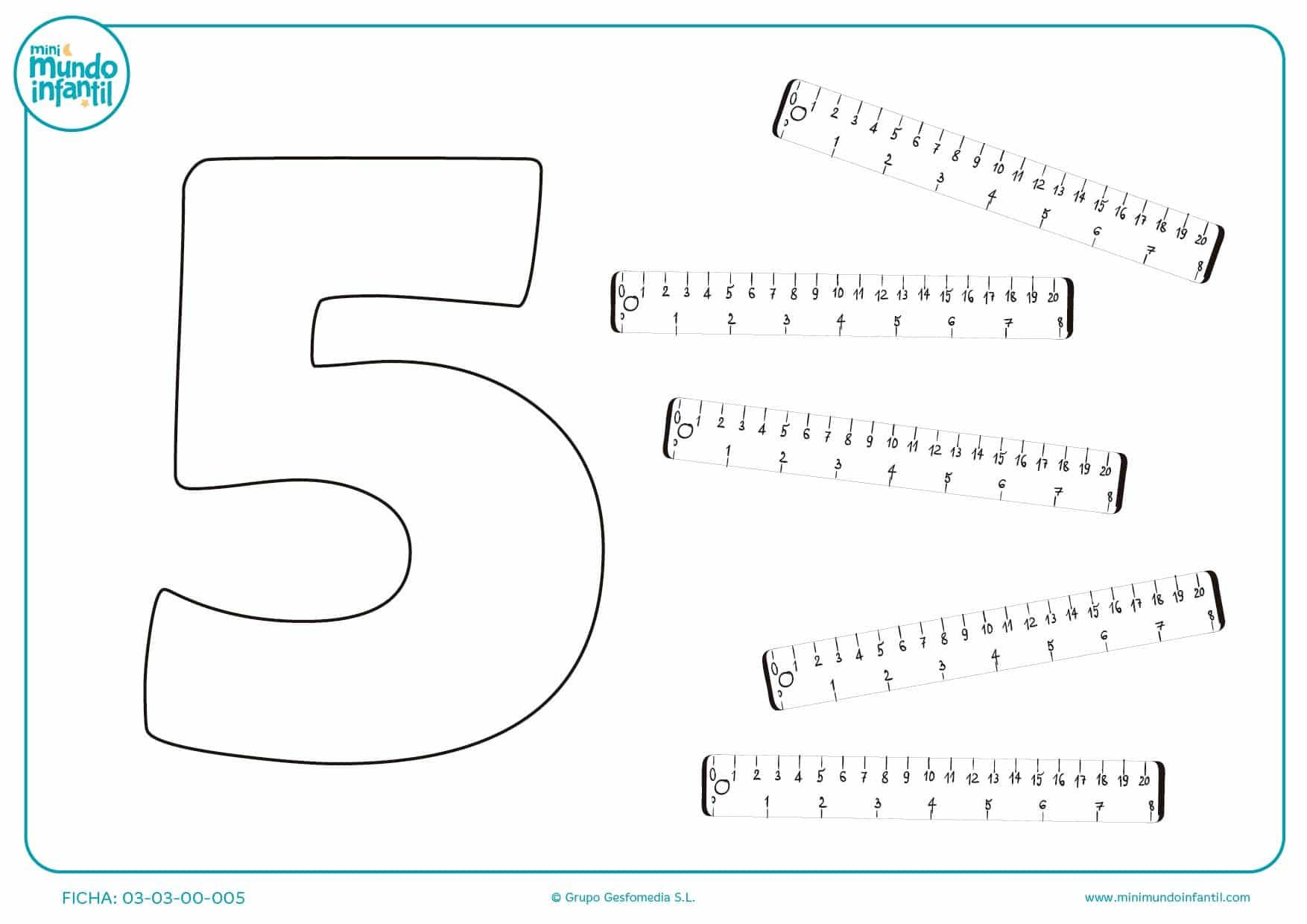 Colorear el número 5 de reglas para medir