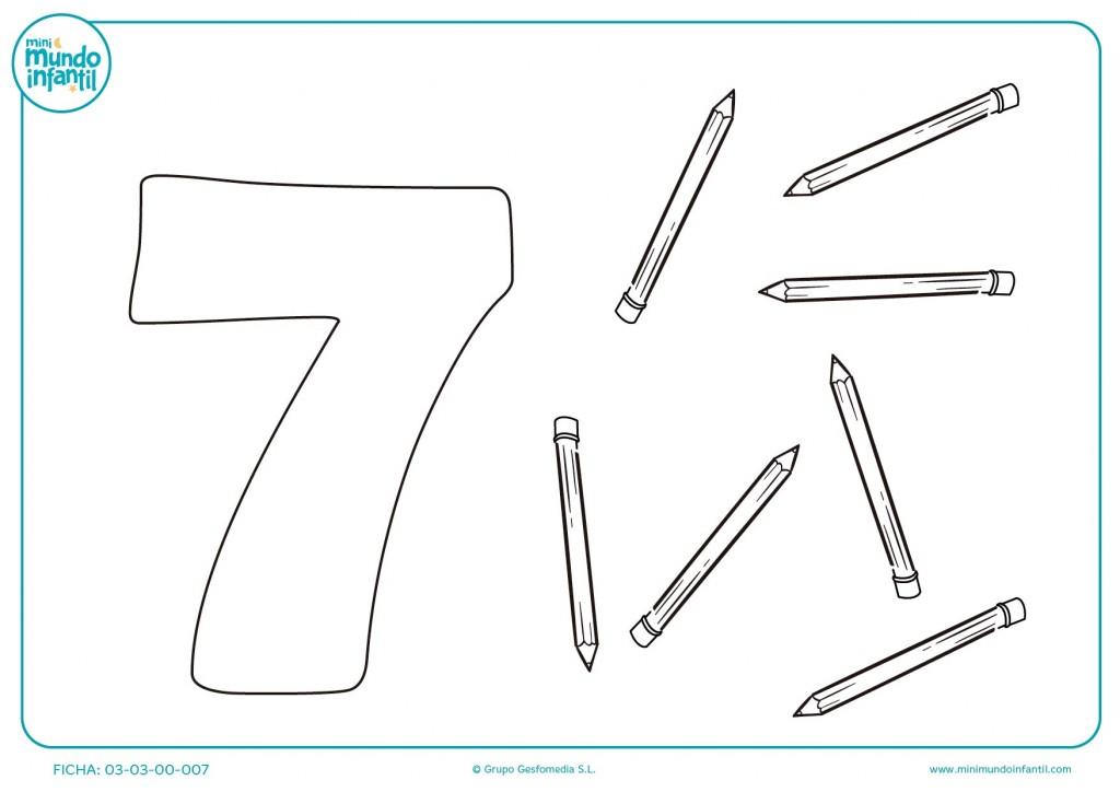 Rellenar el número 7 con sus lápices
