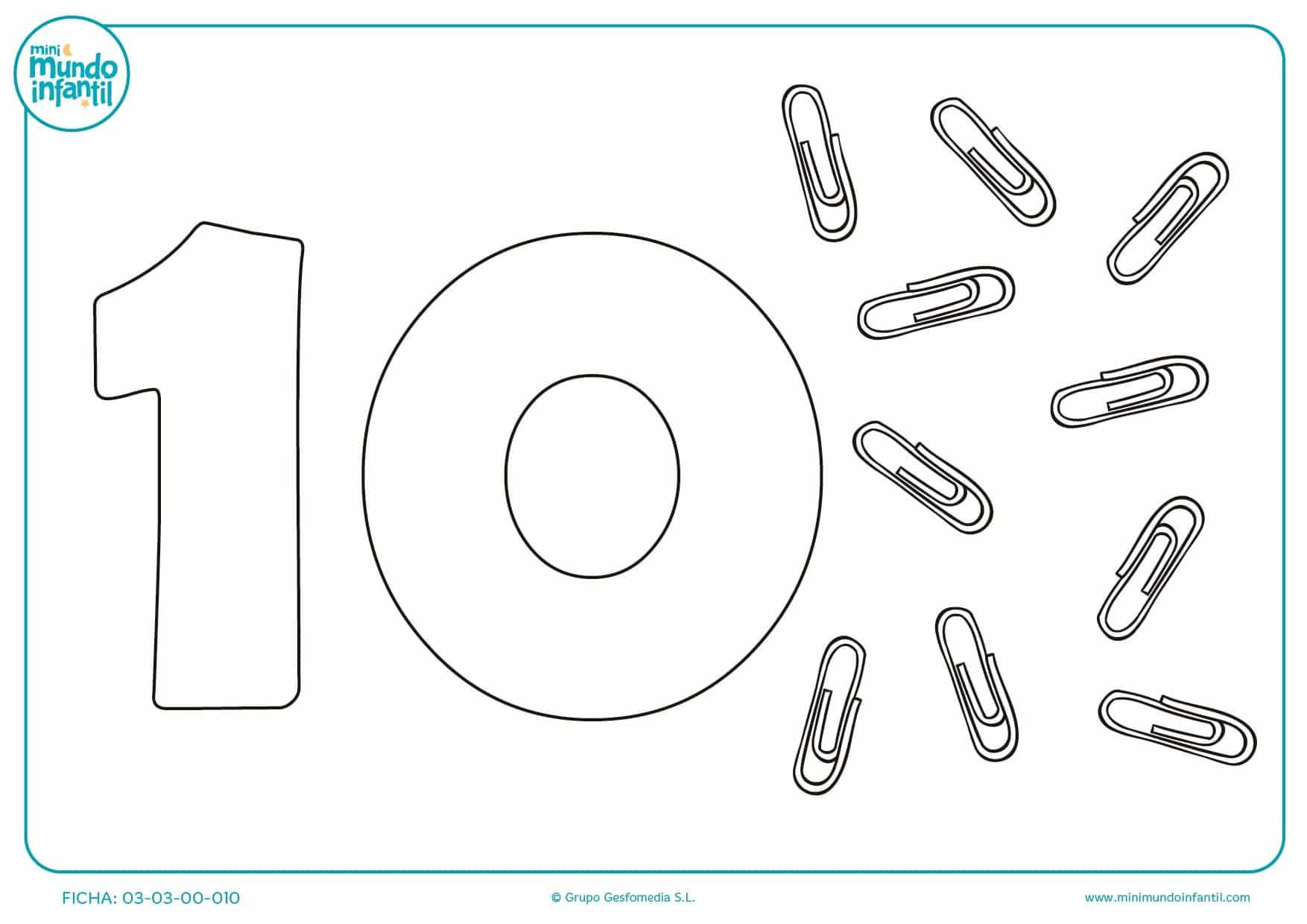 Pintar y estudiar el número 10 con clips