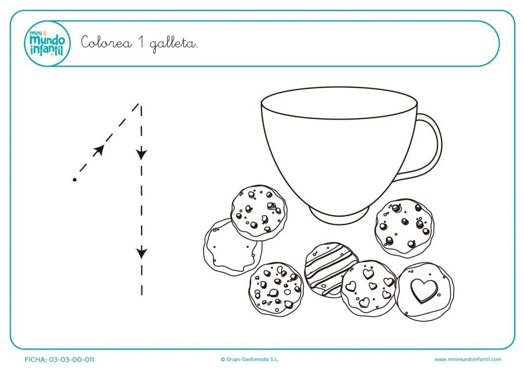 Colorear 1 galleta con colores trazando el número uno