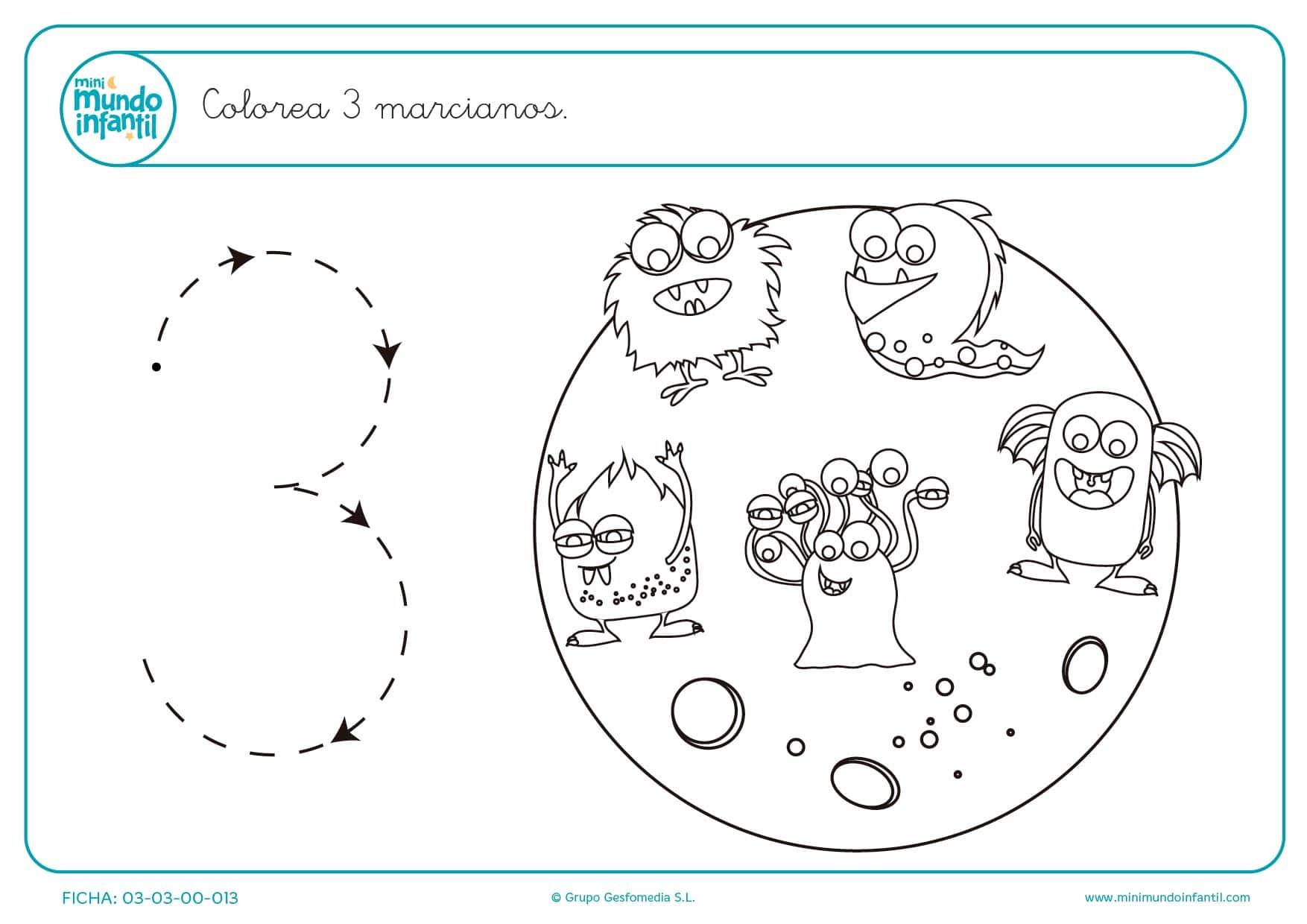 Dibujos De Marcianos Para Colorear: Trazar El Número 3 Y Colorear 3 Marcianos