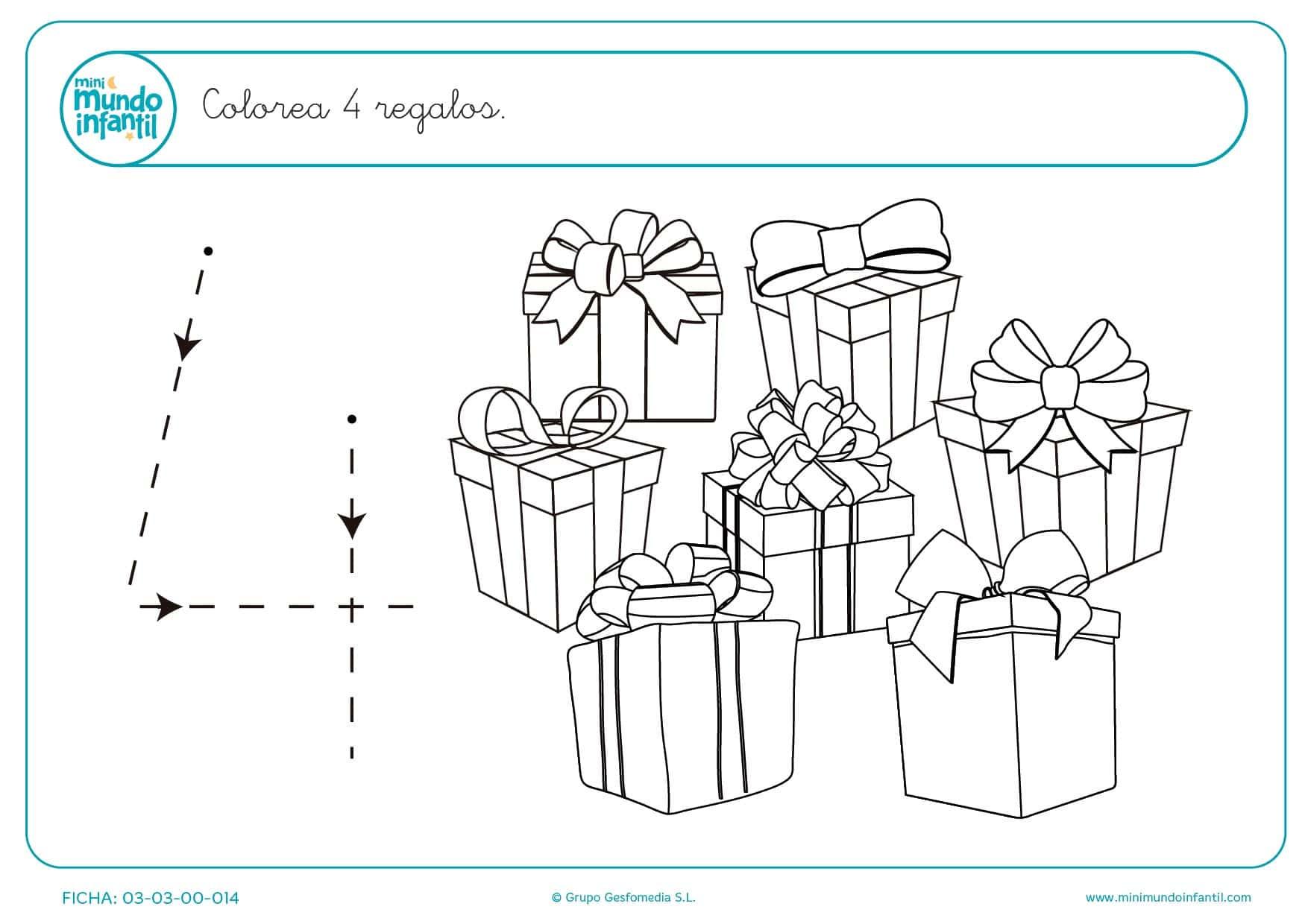 Pintar 4 regalos a la vez que trazas el número 4